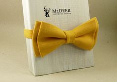 Yellow Ochre Bow Tie - Ready Tied Bow Tie - Adult Bow Tie - Mens bowtie - Groomsman, Wedding Bow Tie - Gift for Him - Mr.DEER by MrDEERbowtie on Etsy