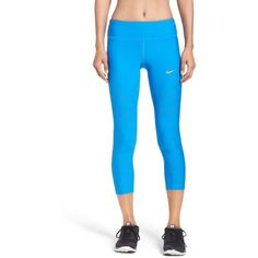 Women's Nike Epic Cool Crop Running Tights ($100) ❤ liked on Polyvore featuring activewear, activewear pants, light photo blue, nike activewear pants, nike sportswear, nike and nike activewear