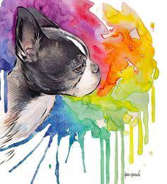 Boston Terrier Watercolor Print Children's Wall art by BasovaArt