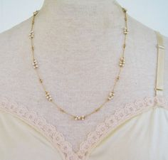 Vintage 1984 Traditional Preppy Signed Avon Pearlized Cluster Goldtone Faux Pearl Necklace in Original Box NIB by ThePaisleyUnicorn, $16.00