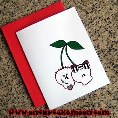 skull cherries couple valentine greeting cards, notecards, thank you notes. custom personalized - set of 10 handmade by OnCupcakeMoon