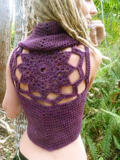 Merino Mandala Crochet Lace up Pixie Vest by Wyldeskye on Etsy