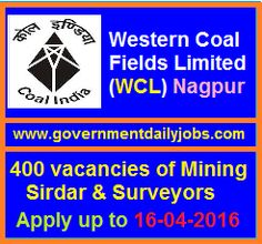 WCL RECRUITMENT 2016 APPLY FOR 400 MINING SIRDAR & SURVEYOR POSTS ~ Government Daily Jobs