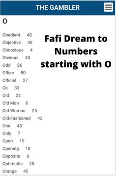 A fafi Lucky Numbers dream guide for dreams starting with O Dream Guide, Touch Math, Lucky Number, Subconscious Mind, South Africa, Dreaming Of You, Numbers, Dreams