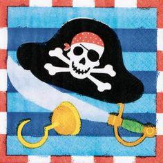Pirat Tischdeko - kleine Servietten mit Totenkopfbildern, 16 Stück pro Pack, 25 x 25 cm €2,99