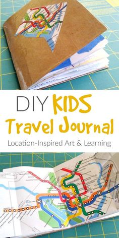 A DIY kids travel journal made out of interesting papers and maps. These can be used by kids for trips or as ways to explore and record your local area.