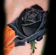 What does black rose tattoo mean? We have black rose tattoo ideas, designs, symbolism and we explain the meaning behind the tattoo. Dark Roses Tattoo, Purple Rose Tattoos, Single Rose Tattoos, Rose Tattoos For Men, Black Tattoos, Tattoos For Guys, Black Rose Tattoo For Men, Black And Blue Tattoo, 3d Tattoos