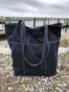 Dark Navy Blue Tote Bag, Handmade in New Orleans Tote Purse, Brown Leather Totes, Leather Bag, Waxed Canvas Bag, Dark Navy Blue, Everyday Bag, Make And Sell, Purses