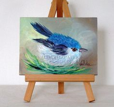 Bird 2 original oil painting 3x4 includes easel by valdasfineart