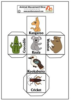 Gorgeous Animal Movement for Kids Wildlife Movement Dice: Draw out your Inner Animal Australia For Kids, Australia Crafts, Australia School, Australia 2018, Australia Funny, Animal Crafts For Kids, Art For Kids, Animal Activities, Activities For Kids