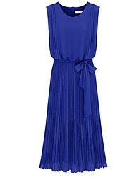 Azul sem mangas Voltar Zipper Belt Vestido plissa... – EUR € 24.99