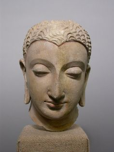 Afghanistan or Pakistan, Ancient Gandhara, Head of Buddha, 3rd-5th century, Stucco with traces of red pigment, 18.2 x 11.0 x 11.7 cm | The Art Institute of Chicago.