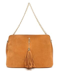 Look what I found on #zulily! Tan Tassel Trapezoid Suede Shoulder Bag by GALiAN #zulilyfinds