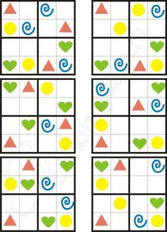 Sudoku 4Х4 con dibujos. Planificación. Percepción espacial. Atencion