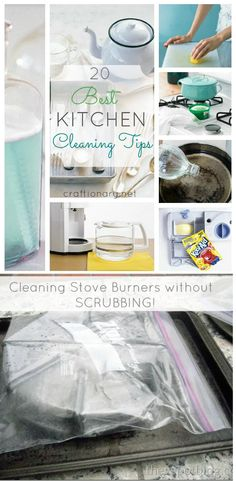 Kitchen cleaning tips. Tips to clean stoves. Home clean tips Clean Refrigerator, Clean Dishwasher, Kitchen Cleaning, Cleaning Hacks, Clean Stove Burners, Cool Kitchens, Microwave, Easy, House