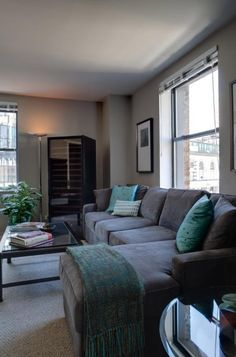 LOVE!!!!!   The perfect couch (style and colour!)    Living Room in Herald Towers Apartments in Herald Square #Manhattan #NYC.