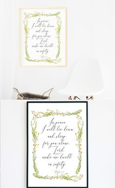 "☆ A Beautiful Print for your Home. Watercolor flowers frame with a Bible verse.☆  ""In peace, I will lie down and sleep, for you alone, Lord, make me dwell in safety."" Psalm 4:8  Make your house look cozy and bright with this print!  Instant download print-ready digital file: A4 8"" x 11""  Letter 8.5"" x 11"""