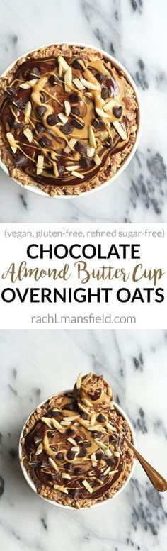 Dark Chocolate Almond Butter Cup Overnight Oats. An easy gluten & refined sugar-free recipe and it is vegan-friendly. You have the option of added marine collagen for an extra nutritious boost!