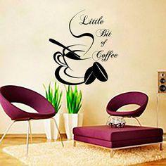 Coffee Wall Decals Cup Sticker Quotes Decal Vinyl  Kitchen Decor Cafe Interior Design Bakery Restaurant Art Murals Ah177