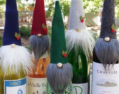 FIVE Wine Toppers, Wine Gifts, Wine Party Gift, Gnome Toppers, Nisse, Swedish Gnomes, Nordic Gnome Wine Bottles, Liquor Gifts, Birthday