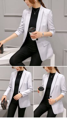 Classy grey blazer coat on luulla Stylish Work Outfits, Office Outfits Women, Cool Outfits, Tomboy Formal Outfits, Business Casual Outfits For Women, Classy Outfits, Work Fashion, Office Fashion, Fashion Outfits