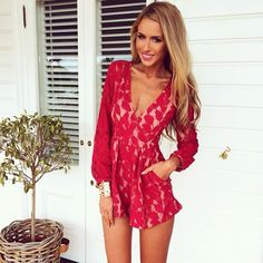 lace red playsuit ❤️