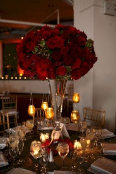 The flower is a thing that never separated in wedding decoration, either as decoration centerpieces. Traditionally, roses are the flowers most often used as centerpieces in … Red Centerpieces, Tall Wedding Centerpieces, Wedding Decorations, Tall Centerpiece, Centrepieces, Centerpiece Ideas, Red Rose Wedding, Wedding Flowers, Romantic Weddings