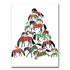 Blanketed Horses Christmas Tree Cards Equestrian Holiday Cards - Christmas Cards - By Horse Hollow Press #BX XMAS 17 at Horse and Hound Gallery