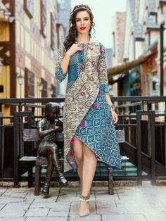 Get this artistic asymmetric designer multicolor angrakha kurti for jeans online. This mod girls designer printed top contains 3 sleeves & boat neck. Simple Kurti Designs, Kurta Designs, Blouse Designs, Dress Designs, Long Cotton Kurti, Kurti With Jeans, Latest Kurti, Batik Fashion, Fancy Tops