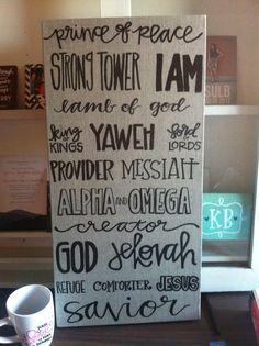 "names of GOD word art - 12""x24"" on linen  - $50 - laurenish design - laurenishdesign@gmail.com to order"