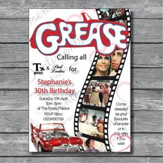 Personalised Grease Retro 80S Adult Birthday Party Invitations Pack Of 10