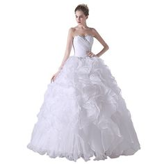 d3e44ca5b9 Datangep Women s Rhinestones Sweetheart Lace-up Quinceanera Dress with  Ruched Skirt White US2