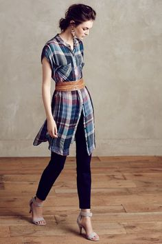 Mixed Plaid Tunic - Like the idea of all the ways you can style this shirtdress. Looking for one with long sleeves, though, and a bit heavier fabric that is less Seattle-grunge plaid.