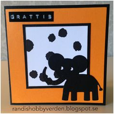 Randis hobbyverden: Barnekort med elefant i orange