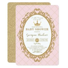 Royal Princess Crown Pink Gold Baby Shower Invite Custom Office Party Invitations #office #partyplanning