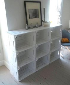 Possibly single storage for shoe rack under children's bag/coat hooks. Crate Storage Bookshelf bookcase @ DIY Home Ideas, id like this except screwed into the wall up off the floor enough that the kids can't reach! Diy Casa, Home Organization, Organizing Ideas, Bookshelves, Crate Bookshelf, Wood Crate Shelves, Bookshelf Ideas, Wooden Crate Kitchen Storage, Bookshelf Closet
