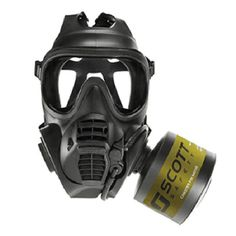 Scott Safety's First Responder Respirator (FRR), a variant of the revolutionary Scott GSR military respirator used by the UK MoD. Doomsday Prepping, Masks Art, Earmuffs, Guns And Ammo, Survival Gear, Law Enforcement, Mask Design, Gears, Pixel Art