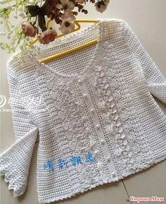 White blouse fillet knitting with ruches Cardigan Au Crochet, Crochet Coat, Crochet Clothes, Crochet For Kids, Crochet Baby, Pull Crochet, Crochet Carpet, Black White Pattern, Beautiful Crochet