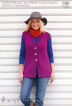 Knitting Patterns Vest Womens Longer Length Waistcoat in Hayfield Super Chunky with Wool Free Knitting Patterns For Women, Chunky Knitting Patterns, Knit Patterns, Baby Knitting, Knitting Daily, Knitting Sweaters, Knit Vest Pattern, Super Chunky Yarn, Batik