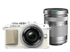 Olympus E-PL7 16MP Mirrorless Digital Camera with 3-Inch LCD with EZ Double Zoom Kit 12-42mm f/3.5-5.6 + 40-150mm f/4-5.6 (White) - International Version Olympus http://www.amazon.com/dp/B00N0E1O4E/ref=cm_sw_r_pi_dp_OhEbxb1M2CMN3