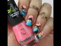 Nail Art Tutorial: Tropical Palm Tree and Dolphin Gradient Nail Design (german/deutsch) - YouTube