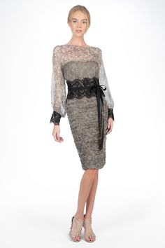 ead7bb871ae4 Printed Chiffon Long Sleeve Dress with Lace Detail in Black   Grey -  Cocktail Dresses -