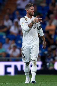 Sergio Ramos of Real Madrid reacts during the La Liga match between Real Madrid CF and Getafe CF at Estadio Santiago Bernabeu on August 2018 in Madrid, Spain. Get premium, high resolution news photos at Getty Images Messi And Ronaldo, Cristiano Ronaldo, Real Mardrid, Real Madrid Captain, Ramos Real Madrid, Captain Fantastic, Football Love, Remo, Sport Motivation