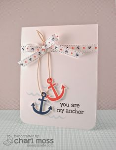 Lawn Fawn - Float My Boat - Chari's nautical-themed card is too cute! I love that May Arts ribbon with our Float My Boat set! I also love how she hung the anchors!