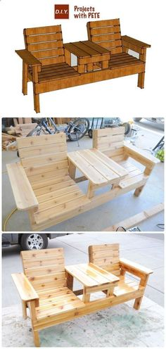 Plans of Woodworking Diy Projects - DIY Double Chair Bench with Table Free Plans Instructions - Outdoor Patio #Furniture Ideas Instructions Get A Lifetime Of Project Ideas & Inspiration! #woodworkingbench