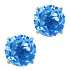 5.10 Ct Round Swiss Blue Topaz 14K White Gold Basket Stud Earrings 8mm Gem Stone King. $103.39. This Item Contains 100% Natural Stones. This item is proudly custom made in the USA. Save 75%!