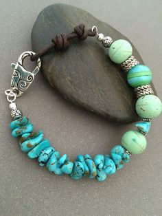 Turquoise Bracelet Green Magnesite Bracelet by ClassyChicDesigns4u