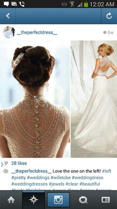 Wedding gown turtle neck. Backless design for reception dress (dress on right)