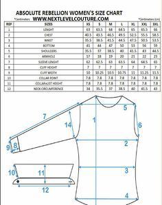 Nextlevel present to you Absolute Rebellion women designer shirts fitment guide chart. We welcome you to use our size chart to aid in finding the correct ladies designer shirt size Plaid Shirt Women, Dress Shirts For Women, Clothes For Women, Dress Sewing Patterns, Clothing Patterns, Pattern Dress, Crochet Patterns, Womens Size Chart, Crochet Clothes