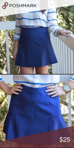 "Cobalt Blue J. Crew Fluted Double Crepe Skirt Great skirt for the office or for play! It's a nice thick high quality material & beautiful color. Zips up back. Lined. Length is 17"". Waist is 28"". Only worn once, in perfect condition. (First 2 pics are not my photos). J. Crew Factory Skirts Mini"